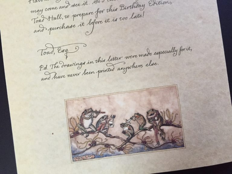 Advertising letter 'from Toad'