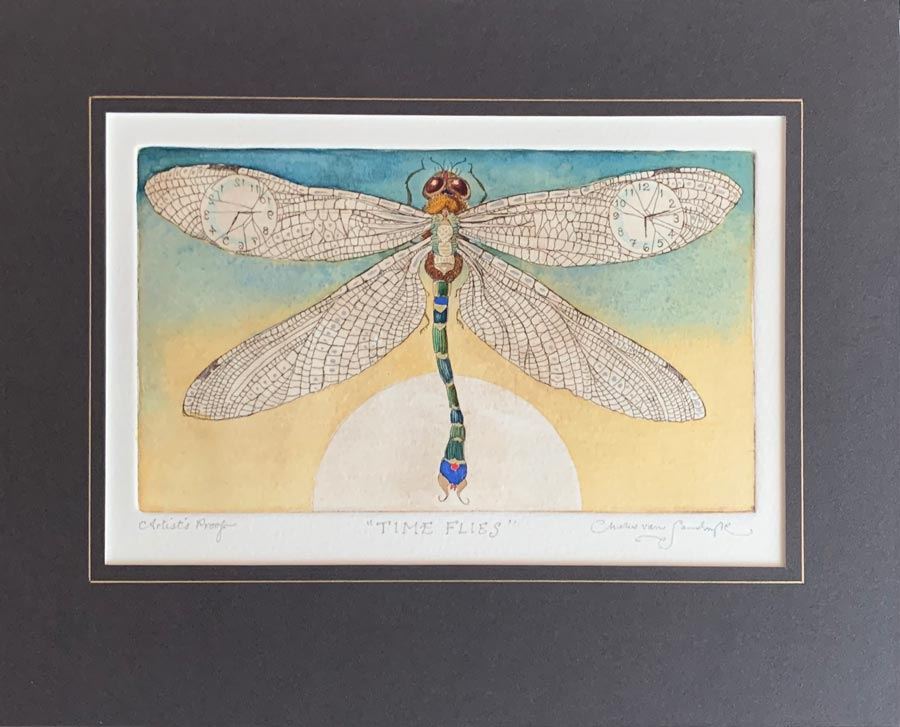 Dragonfly, painted etching from 'Time Flies' (Charles van Sandwyk, 1995)