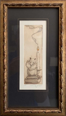 Literary Mouse [reading mouse with books, and candle], framed etching (Charles van Sandwyk, 2005)