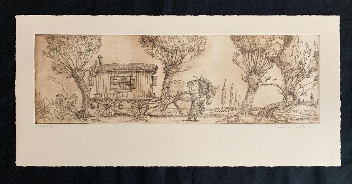 Open Road [mole, toad, ratty, horse pulling carriage in woods], etching from 'Wind in the Willows' (Charles van Sandwyk, 2005)