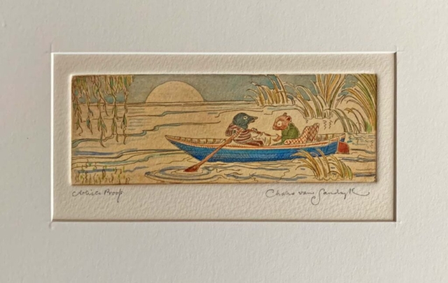 Ratty and Mole in Rowboat, painted etching from 'Wind in the Willows' (Charles van Sandwyk, 2005)