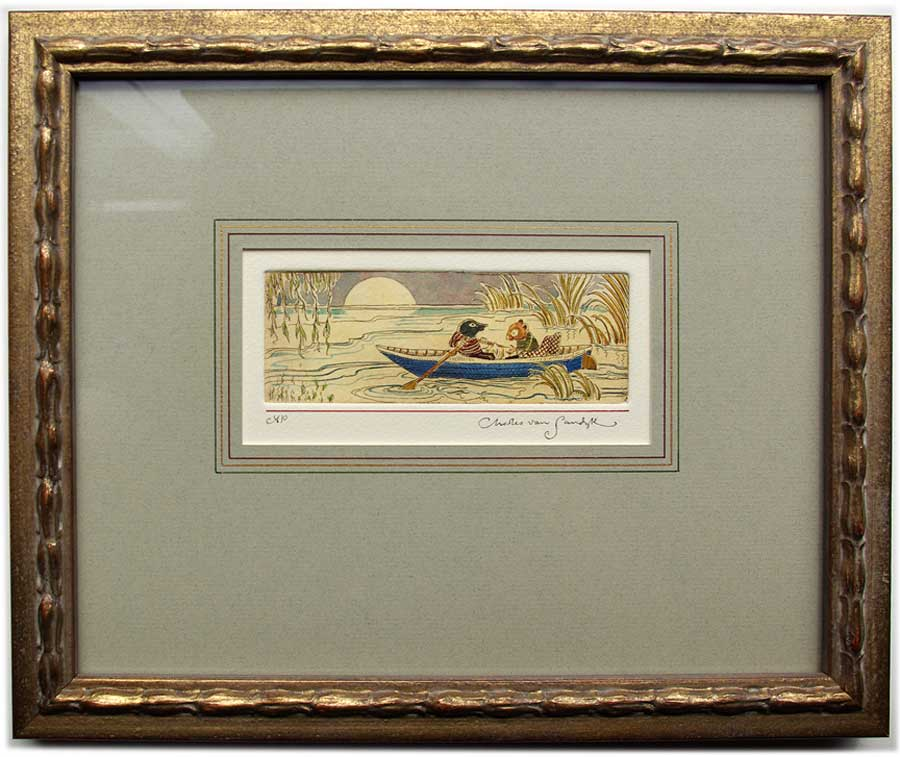 Ratty and Mole in Rowboat, framed painted etching (Charles van Sandwyk, 2005)