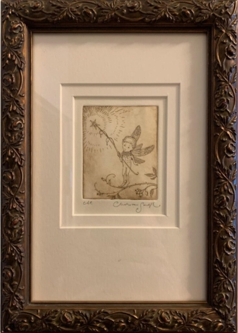 Fairy with Wand, framed etching from How to see Fairies (Charles van Sandwyk, 2006)