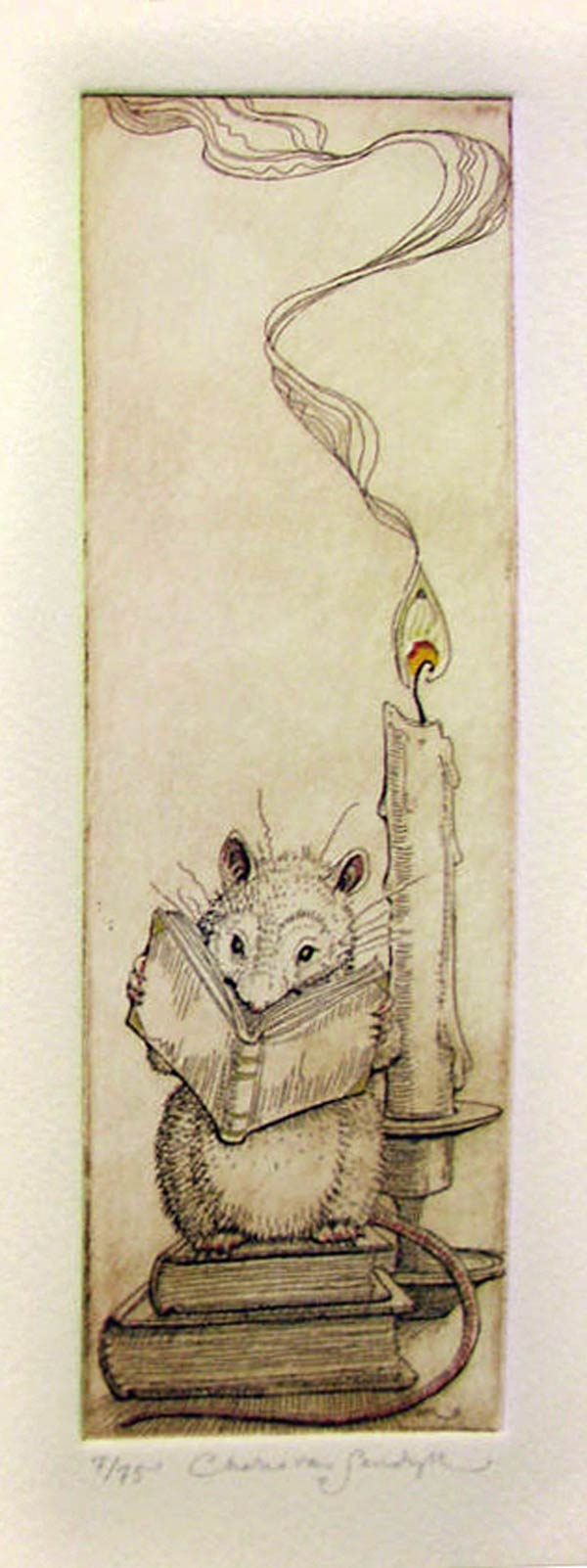 Literary Mouse [reading mouse with books and candle], etching with gilt (Charles van Sandwyk, 2011)