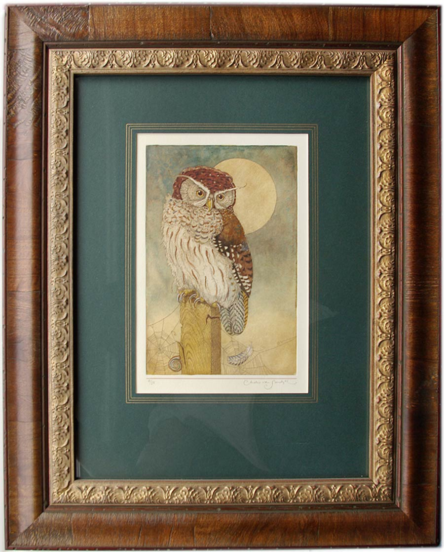 Solitary Owl, framed painted etching from 'Affairs of the Heart' (Charles van Sandwyk)