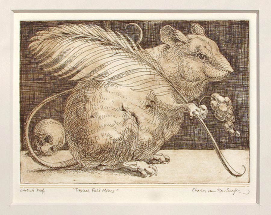 Tropical Field Mouse [with feather quill, grapes and skull], etching (Charles van Sandwyk)