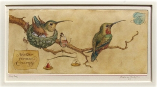 Nectar vs Energy, painted etching (CvS, 2012)