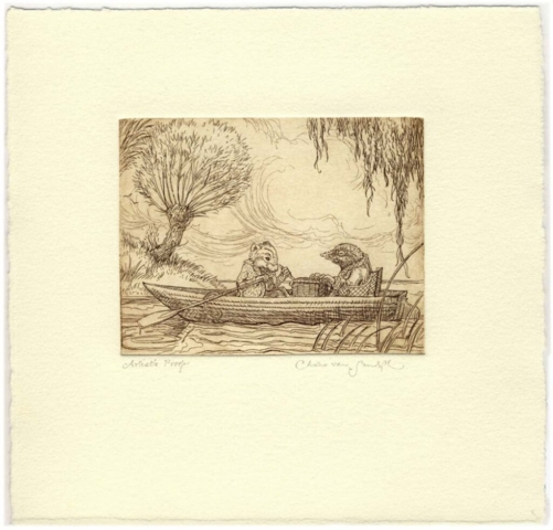 Ratty and Mole Boating, etching from 'Wind in the Willows' (CvS, 2013)