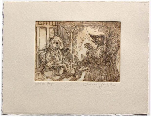 Fireside Chat etching from 'Wind in the Willows' (CvS, 2013)