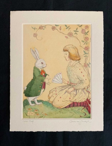 Alice and White Rabbit, painted etching from 'Alice in Wonderland' (Charles van Sandwyk, 2015)