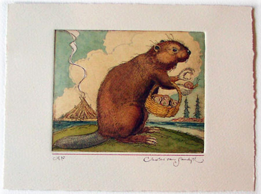 Beaver with Freshwater Snails, painted etching from Canadian Content (Charles van Sandwyk)