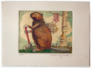 Beaver with Twigs [and axe], painted etching from Canadian Content (Charles van Sandwyk)