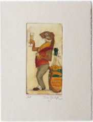 Weasel with Champagne, painted etching (Charles van Sandwyk)